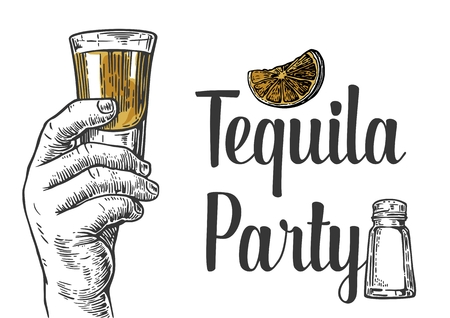 Male hand holding a shot of alcohol drink. Hand drawn design element.Vintage vector engraving illustration for label, poster, invitation to a party. Tequila party.