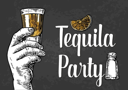 shot: Male hand holding a shot of alcohol drink. Hand drawn design element.Vintage vector engraving illustration for label, poster, invitation to a party. Tequila party.