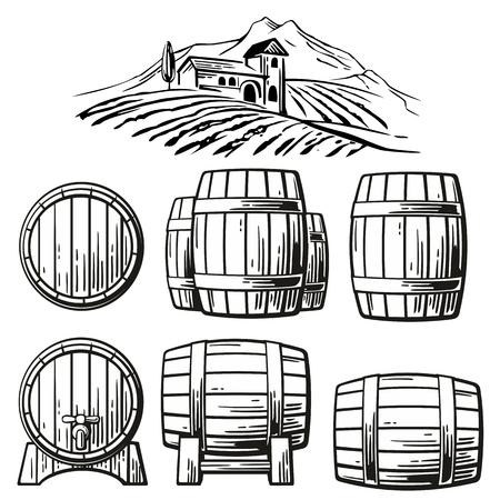 Wooden barrel set and  rural landscape with villa, vineyard fields, hills, mountains. Black and white vintage vector illustration for label, poster, web, icon