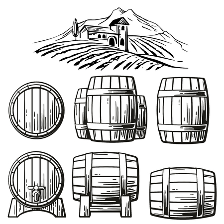Wooden barrel set and rural landscape with villa, vineyard fields, hills, mountains. Black and white vintage vector illustration for label, poster, web, icon