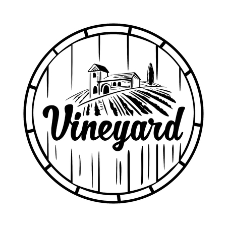 tuscan: Rural landscape with villa, vineyard, wooden barrel, fields and hills. Black and white vintage vector illustration for label, poster,  , icon