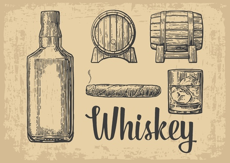 vintage cigar: Whiskey glass with ice cubes, barrel, bottle, cigar. Vintage vector engraving illustration for label, poster, invitation to a party. Vintage brown old paper background Illustration