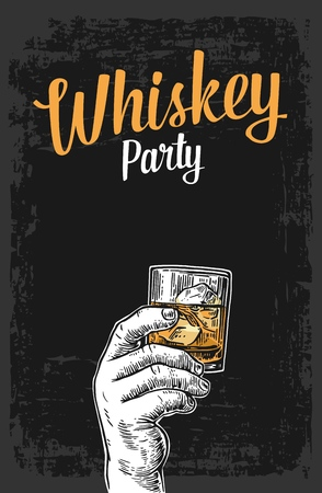 Male hand holding a glass with whiskey and ice cubes. Vintage vector engraving illustration for label, poster, invitation to a party.
