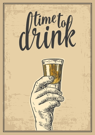 moonshine: Male hand holding a shot of alcohol drink. Vintage vector engraving illustration for label, poster, invitation to a party. Time to drink. Old paper beige background