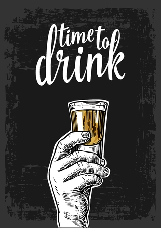 shot: Male hand holding a shot of alcohol drink. Vintage vector engraving illustration for label, poster, invitation to a party. Time to drink. Dark background