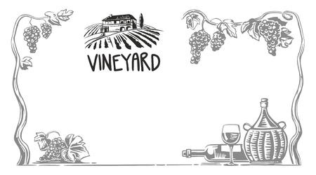 Rural landscape with villa and vineyard fields. Bunch of grapes, a bottle, a glass and a jug of wine. Black and white vintage vector wide illustration for label, poster, web, icon