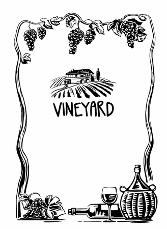 tuscan: Rural landscape with villa and vineyard fields. Bunch of grapes, a bottle, a glass and a jug of wine. Black and white vintage vector high illustration for label, poster, web, icon