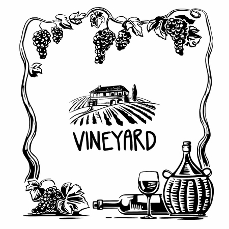 tuscan: Rural landscape with villa and vineyard fields. Bunch of grapes, a bottle, a glass and a jug of wine. Black and white vintage vector square illustration for label, poster, web, icon