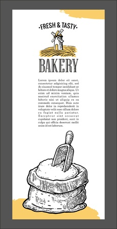 bagful: Vintage vector engraving illustration for label, poster, corporate identity, badges, brochures, presentations, flayer for bakery shop.