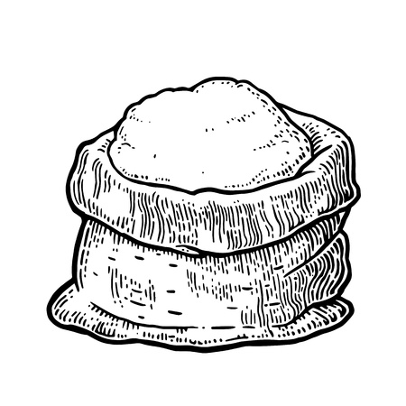 bagful: Sack with whole flour. Hand drawn sketch style. Vintage black vector engraving illustration for label, web, flayer bakery shop.  Isolated on white background.