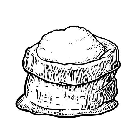 Saco con harina integral. Dibujado a mano del estilo del bosquejo. ilustración de grabado de la vendimia negro del vector de la etiqueta, web, flayer panadería. Aislado en el fondo blanco.