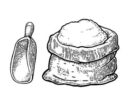 bagful: Sack with whole flour with wooden scoop. Hand drawn sketch style. Vintage black vector engraving illustration for label, web, flayer bakery shop.  Isolated on white background.