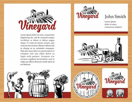 peasant woman: Wine concept design. Corporate identity.  business cards, brochures, label, presentations. Rural landscape, vineyard fields and hills, bottle, glass, barrel, harvest the grapes