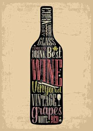 타이 포 그래피 포스터 글자 텍스트 실루엣 와인 병입니다. 빈티지 벡터 조각 그림입니다. 갈색 오래 된 종이 배경에 술집에 대 한 광고 디자인입니다.