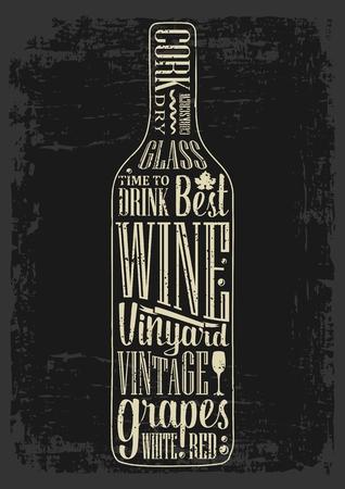 poster Typographie texte lettrage dans une bouteille de vin silhouette. Vintage gravure illustration vectorielle. Création publicitaire pour pub sur fond sombre. Vecteurs