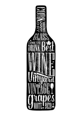 Typografia plakat napis tekst w sylwetka Butelka wina. Sztuka wektor Grawerowanie ilustracji. Reklamowy projekt dla pubu na białym tle