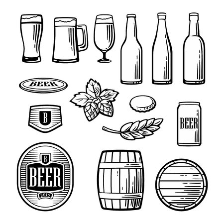 pint: Beer vector flat icons set - bottle, glass, barrel, pint, barle, malt, cover, label.  Vintage illustration. For Emblem, web, info graphic