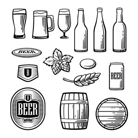 Beer vector vlakke pictogrammen set - fles, glas, vat, pint, Barle, mout, dekking, label. Vintage illustratie. Voor Emblem, web, info graphic