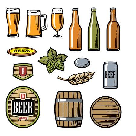 pint: Beer vector flat icons set - bottle, glass, barrel, pint, barle, malt, cover, label. Vintage illustration. For Emblem, web, info graphic