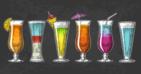 Alcohol cocktail set. Vintage vector engraving illustration for web, poster, menu, invitation to summer beach party. Isolated on dark background Vektorové ilustrace
