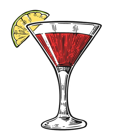 cosmopolitan: Alcohol cocktail cosmopolitan. Vintage vector engraving illustration for web, poster, menu, invitation to summer beach party. Isolated black on white background.