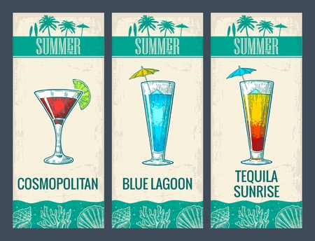 blue lagoon: Alcohol cocktail set. Cosmopolitan, blue lagoon and tequila sunrise. Vintage vector engraving illustration for web, poster, menu, invitation to summer beach party. Isolated on light background.