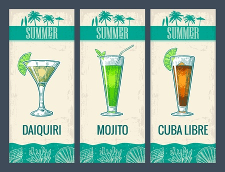 daiquiri: Alcohol cocktail set. Daiquiri, mojito, cuba libre. Vintage vector engraving illustration for web, poster, menu, invitation to summer beach party. Isolated on light background.