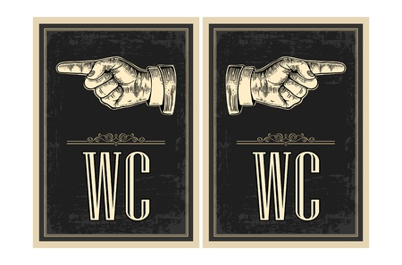 direction sign: Pointing finger.  Vector vintage engraved illustration on a black background. Hand sign for web, poster, info graphic