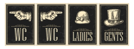 Toilet retro vintage grunge poster. Ladies, Cents, Pointing finger.  Vector vintage engraved illustration on a black background.  For bars, restaurants, cafes, pubs.