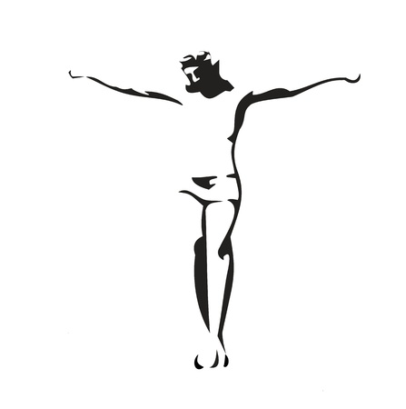 Jesus Christ crucified. Vector black illustration on white background. Ilustração