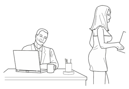 looks: Man looking man looks at a woman in back office. Black vector illustration isolated on white background.