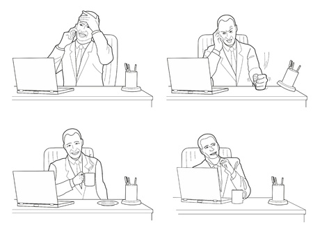 displeased: Different actions and emotions of men. Talking, anger, calm, dreaming.  Black vector illustration isolated on white background. Illustration