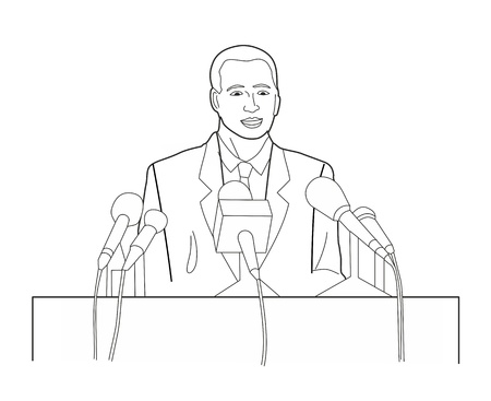 tribune: Business manager character making public presentation speech at tribune with microphone. Black vector illustration isolated on white background Illustration