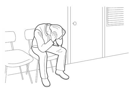 忙しいビジネスマンは、頭痛とストレスの下でです。心配している男は、白い背景で隔離の黒ベクトル図。