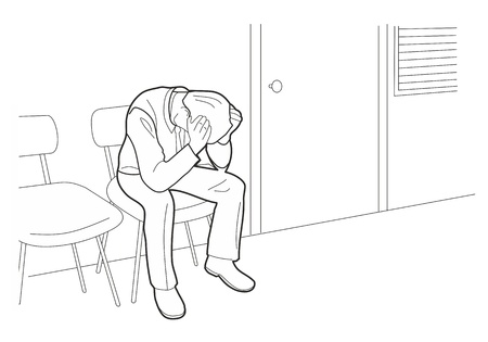 Overworked businessman is under stress with headache. Worried man, Black vector illustration isolated on white background.