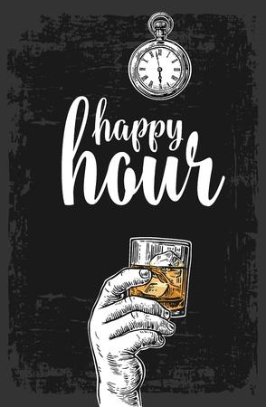 Mano masculina que sostiene un vidrio con el whisky y los cubos de hielo. Ilustración del grabado del vector de la vendimia para la etiqueta, cartel, menú. Fondo oscuro. Hora feliz.
