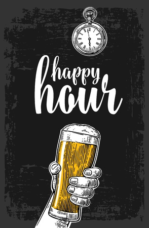 mug shot: Male hand holding a beer glass. Vintage vector engraving illustration for label, poster, menu. Isolated on dark background. Happy hour.