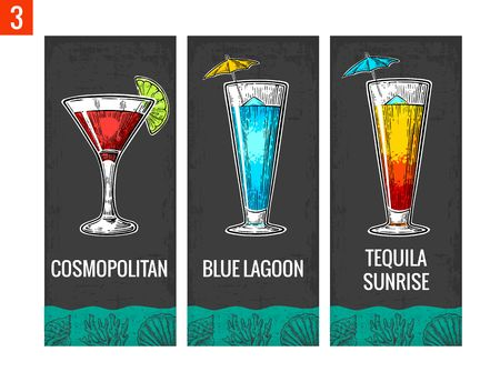 Alcohol cocktail set. Cosmopolitan, blue lagoon and tequila sunrise. Vintage vector engraving illustration for web, poster, menu, invitation to summer beach party. Isolated on dark background.