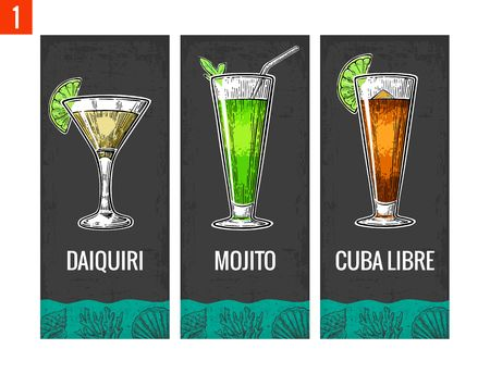 daiquiri: Alcohol cocktail set. Daiquiri, mojito, cuba libre. Vintage vector engraving illustration for web, poster, menu, invitation to summer beach party. Isolated on dark background.