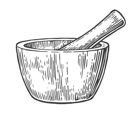 Mortaio e pestello. Vintage vettore illustrazione inciso
