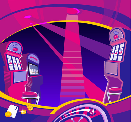 maquinas tragamonedas: Inter Casino - m�quinas tragaperras, sillas, proyectores de luz. Las monedas de oro tarjetas que juegan vuelan. Concepto de dise�o para la suerte de juegos de azar y el juego con �xito. Vector ilustraciones planas