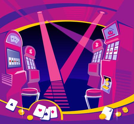 tragamonedas: Inter Casino - m�quinas tragaperras, sillas, proyectores de luz. Las monedas de oro tarjetas que juegan vuelan. Concepto de dise�o para la suerte de juegos de azar y el juego con �xito. Vector ilustraciones planas