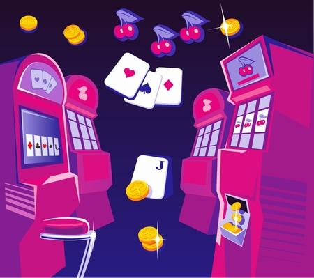 maquinas tragamonedas: Inter Casino - m�quinas tragaperras, sillas. Las monedas de oro tarjetas que juegan vuelan. Concepto de dise�o para la suerte de juegos de azar y el juego con �xito. Vector ilustraciones planas