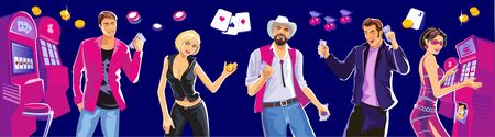 lucky money: Design concept for gambling luck and successful play. Interior casino - slot machines, chair. Lucky woman playing in slot machines. Lucky man with cowboy hat hold money, coins. Vector flat illustrations Illustration