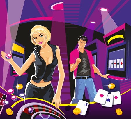 lucky money: Lucky woman hold casino chips while spinning roulete. Lucky man hold money. Interior casino slot machines, chairs, light projectors. Design concept for gambling luck ans successful play.