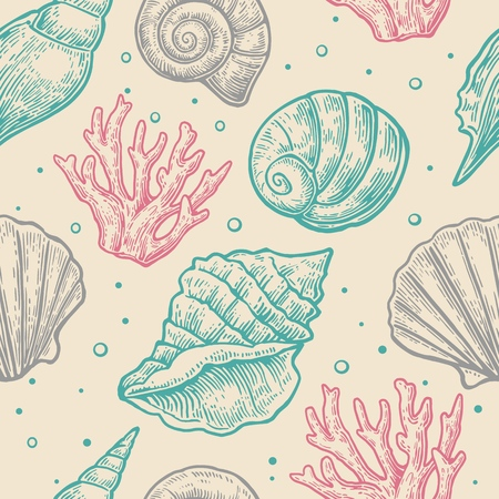 illustrated: Seamless pattern sea shell.  Vector engraving vintage illustrations. Isolated on  gray background.