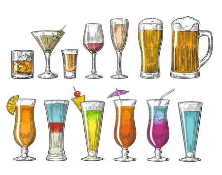 ガラス ビール ワイン ウィスキー テキーラ コニャック シャンパン カクテルを設定します。ビンテージ ベクトル web、ポスター、メニューの夏のビ