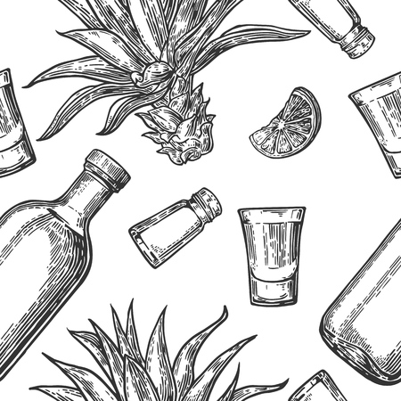 Seamless pattern of glass and botlle, tequila, salt, cactus and lime on white background. Vintage vector engraving illustration for label, poster, web, invitation to party.