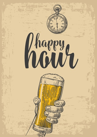hour hand: Male hand holding a beer glass. Vintage vector engraving illustration for label, poster, menu. Isolated on beige background. Happy hour. Illustration