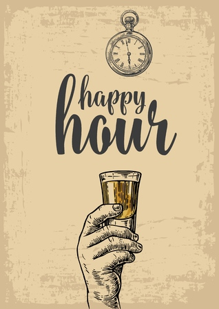 hour hand: Male hand holding a tequila glass. Vintage vector engraving illustration for label, poster, menu. Isolated on beige background. Happy hour. Illustration